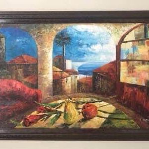 Original Acrylic Painting on Stretched Canvas T Marco with Frame 29x41 inches just $40 for Sale in Port St. Lucie, FL