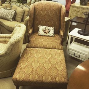 Confessional Wingback Chair with Ottoman for Sale in Saint Davids, PA