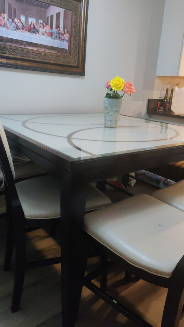 Counter Height Dining Table set W/4 Chairs & 1 Bench