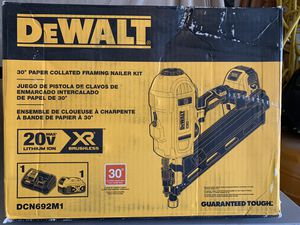 DEWALT 20-Volt MAX XR Lithium-Ion Cordless Brushless 2-Speed 33° Framing Nailer with Battery 4Ah and Charger - used IN BOX for Sale in Spring, TX