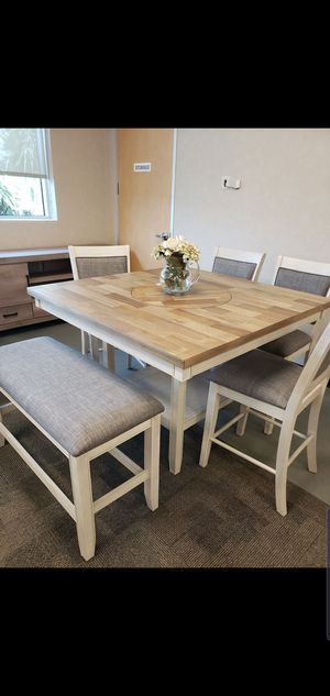 6PC counter height dining room table and chairs with bench included NIB for Sale in Houston, TX