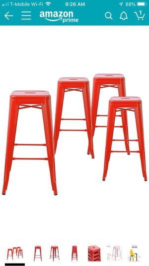 Belleze 4 piece set Bar Stool Industrial Stackable, 26-Inch, Red for Sale in Moreno Valley, CA