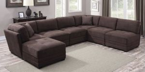 LUXURY HUGE L-SHAPED BROWN SECTIONAL COUCH WITH 6 MULTIPLE REVERSIBLE SECTIONAL!!!🧡🖤🧡🖤🛋 for Sale in San Francisco, CA