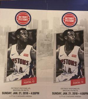Detroit Pistons vs Brooklyn Nets Sunday 1/21 for Sale in Windsor, ON