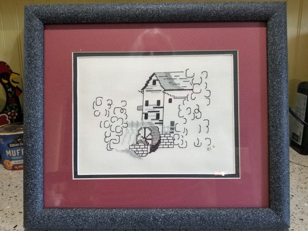 Vintage Needlepoint Mill with waterwheel,rustic, country, rural, cross-stitch under glass framed
