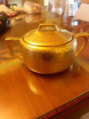 1910s Art Nouveau Osborne Art Studios Gold Gilt Antoinette Sugar Bowl Lid Rare Antique China for Sale in Whittier, CA