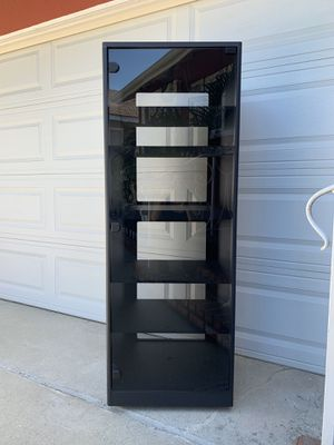 Nice Large 5 Foot Tall Media/Entertainment/Storage Cabinet With Smoked Glass Magnetic Door On Wheels for Sale in Los Alamitos, CA