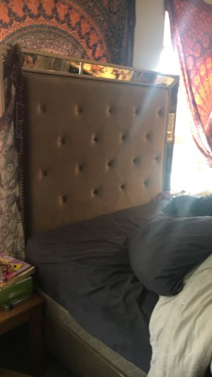 Queen velvet tufted mirrored bed frame for Sale in Denver, CO