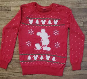 DISNEY MICKEY MOUSE CHRISTMAS WARM RED PULLOVER WOMEN ( SMALL SIZE )SWEATCHER PRE-OWNED IN GOOD CONDITION for Sale in Paramount, CA