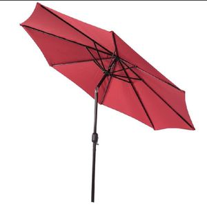 Outdoor 9 Feet Aluminum Market Umbrella Table Umbrella with Crank and Push Button Tilt for Patio, Garden, Deck, Backyard, Pool, 8 Steel Ribs (Red-N) for Sale in Ontario, CA