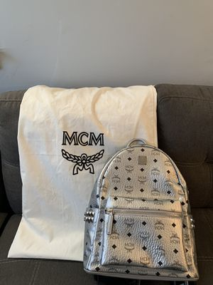 MCM Men's / Women's Stark Medium Studded Silver Monogram Leather Backpack Bag for Sale in Philadelphia, PA