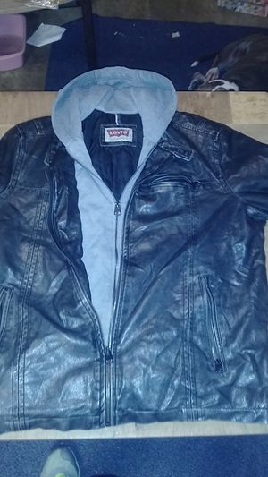 Levis leather jacket with hoodie $20. OBOsize LARGE for Sale in St. Peters, MO