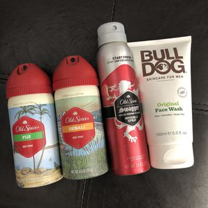 Lightly used body spray old spice bull dog face wash fiji Denali swagger for Sale in Rosemead, CA
