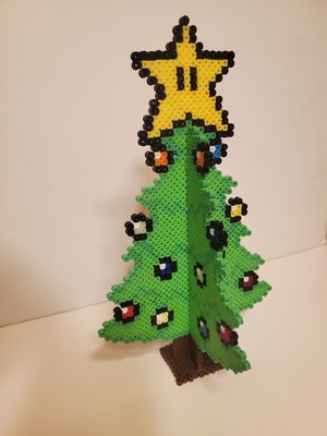 3D Christmas Tree made with Perler Beads with a Mario star on top Nes snes Nintendo switch for Sale in Los Angeles, CA