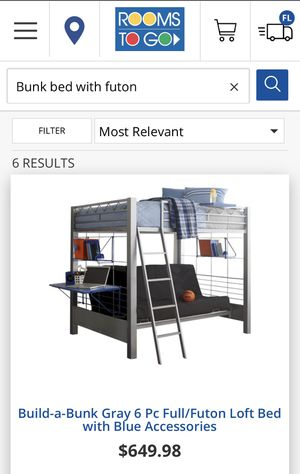Full Bunk bed with futon and desk/chair and book shelve for Sale in Miramar, FL
