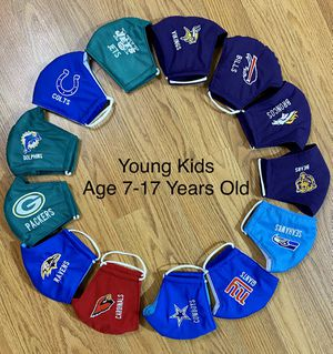 🏈 Kids Sports Face Masks Ages 7-16 Years Old Embroidery 🏈 for Sale in Glendale, AZ