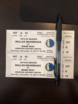 Mavericks vs. Miami Heat - 2 Courtside tickets for Sale in Dallas, TX