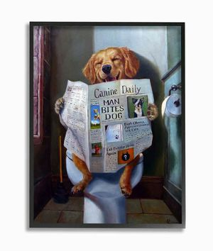 The Stupell Home Decor Collection Dog Reading the Newspaper On Toilet Funny Painting Framed Giclee Texturized Art, 11 x 1.5 x 14 1 available $10 for Sale in China Grove, NC