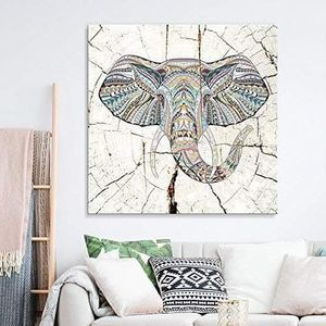 ((FREE SHIPPING)) square canvas wall art - tribal elephant wood effect canvas - giclee print gallery wrap modern home decor Painting like print for Sale in San Francisco, CA