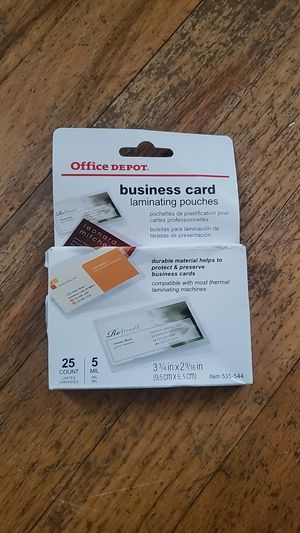 Business card laminating pouches 21 of them for Sale in Evansville, IN