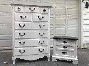 Large Solid Wood 6 Drawer Tallboy Dresser With Nightstand White With Black Top for Sale in Woodbridge, VA