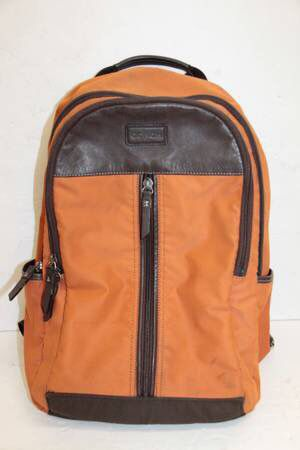 COACH Orange Dark Brown Nylon/Leather Backpack D1393-F70664 for Sale in Norwalk, CA