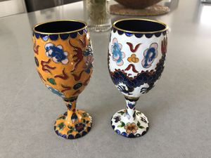 Chines empire metal craft wine cup x2 for Sale in Chino, CA