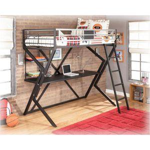 Black/Gray loft style twin bunk desk kids/teen bed for Sale in Berkeley, MO