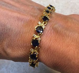 New CZ blue sapphire gold filled bracelet for Sale in Inverness, IL