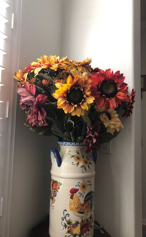 Beautiful hand painted milk jug style vase with 20 different color sun flowers for Sale in Chula Vista, CA