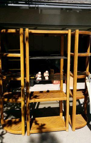 Vintage Entertainment unit tv stand shelves bookcase for Sale in Claremont, CA