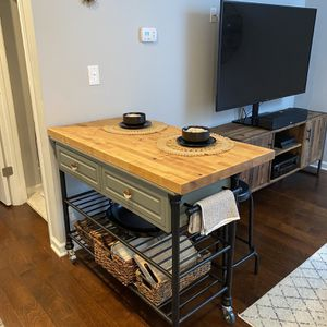 Kichen Island With Seating And Removable Butcher Block Top for Sale in Arlington, VA
