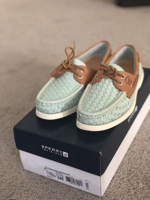 29d8051217f3e Sperry Top-Sider Turquoise Woven Tan Boat Shoes (Size 5) for Sale