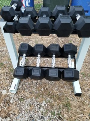 Hex Rubber Dumbbells 5bs to 25lbs for Sale in Chicago, IL