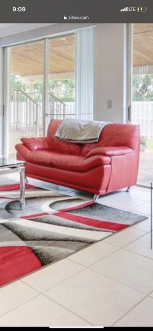 Red leather couch for Sale in Fort Lauderdale, FL