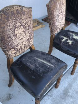 Free Wood Leather Chairs Pair for Sale in West Covina,  CA