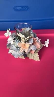 Home Interior Pink and blue flower candle holder decor for Sale in Winchester, VA