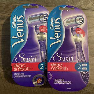 Gillette Venus swirl extra smooth razor w/2 cartridges $8 each for Sale in San Bernardino, CA