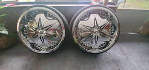 I have a pair of 22 inch voodoo rims for $1,000 or best offer Also it has all pieces nothing missing. Good threading on tires good spinner's serious for Sale in Lake Mary, FL