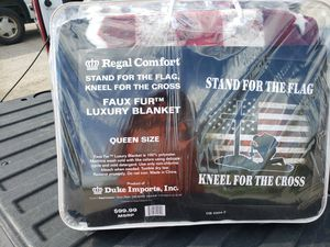 Stand for the flag kneel for the cross brand new queen size blanket for Sale in Barberton, OH