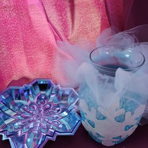Snowflake Decorated Vase And Plate for Sale in Santa Maria, CA