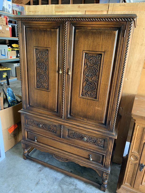 Antique Oak Armoire Dresser For Sale In Riverside Ca