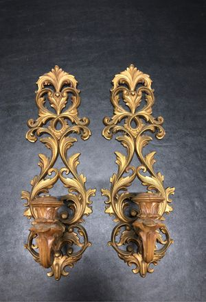 Pair of Vintage Burwood Wall Mount Candle Holders Gothic Horror for Sale in Fullerton, CA