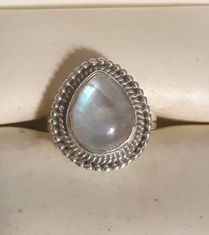 92.5 Sterling Silver Double Rainbow Moonstone Ring. for Sale in Pawtucket, RI