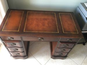 DESK- $189.99 LEATHER EMBOSSED-ANTIQUE VINTAGE for Sale in West Palm Beach, FL