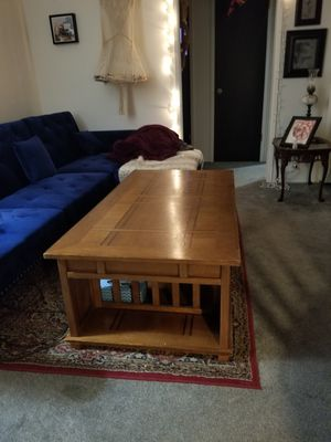 Lift top table w/ bookshelf ends for Sale in San Diego, CA