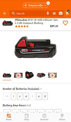 2 Milwaukee M18 2 amp batteries for Sale in Clemson, SC