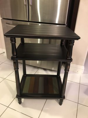 End Table, 3-Tier Telephone Table with Colorful Storage Shelf, Solid Wood Legs, No Tools Required, Sofa Side Table for Living Room for Sale in Corona, CA