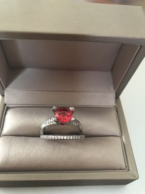 925 stamped sterling silver with ruby and simulated diamonds promised engagement ring size 8 for Sale in Addison, IL