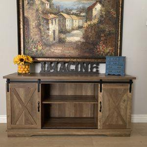 Stunning farmhouse rustic tv stand credenza buffet console vanity entryway entry table with barn doors and shelves for Sale in Peoria, AZ